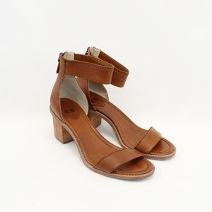 FRYE Bielle Back Zip Brown Leather Heeled Sandals